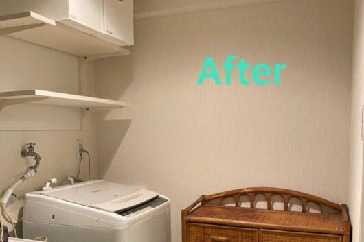 棚板を取り付けスッキリとした感じに仕上がりました。洗濯機の横があき広く感じられます。